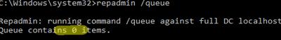 Monitoring AD replication queues (repadmin /queue)
