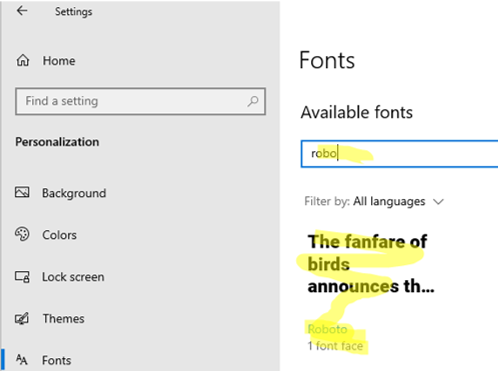 new font appeared in Windows 10