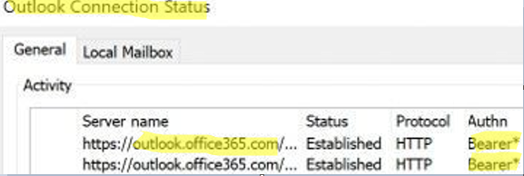 outlook bearer* auth protocol means that basic authentication in used to connect to office 365