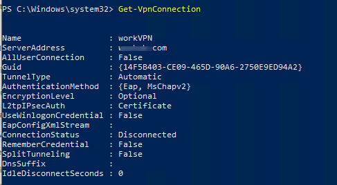 powershell: Get-VpnConnection list on windows 10