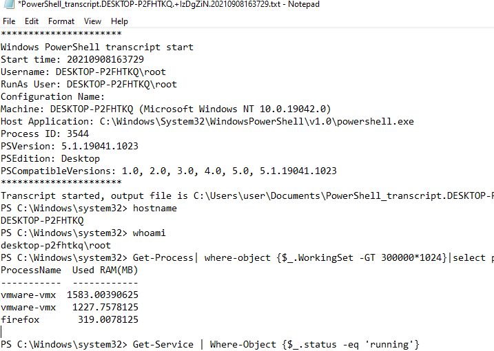 PowerShell_transcript log file - record a session to a text file