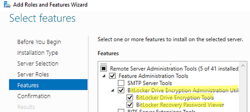 RSAT install BitLocker Drive Encryption Administration Utility