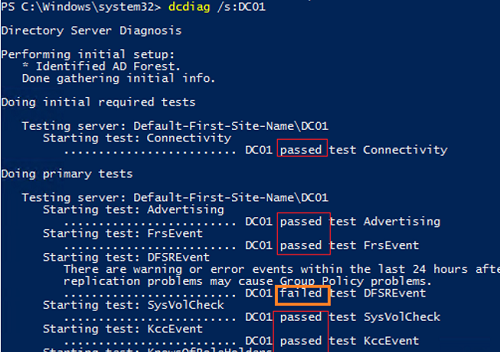 Testing AD domain controllers health using dcdiag.exe