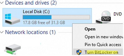 turn on BitLocker for a system drive