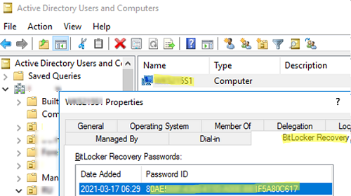 View BitLocker recovery password in ADUC console