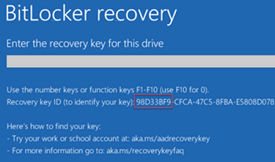 Windows shows recovery key id on startup