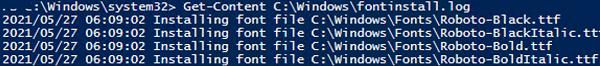 font installation log