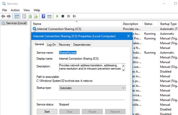 internet connection sharing - configure service autostart on windows 10