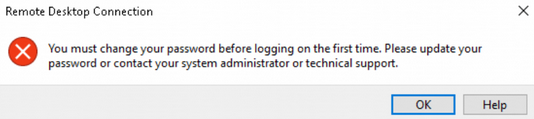 You must change your password before logging on the first time
