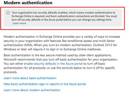 Your organization has security defaults enabled, which means modern authentication to Exchange Online is required, and basic authentication connections are blocked