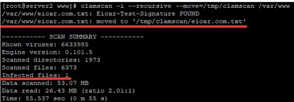 clamav - scan summary report